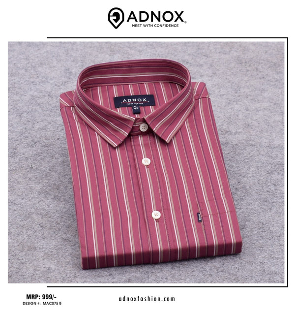 Red Vertical Striped Shirt for Men