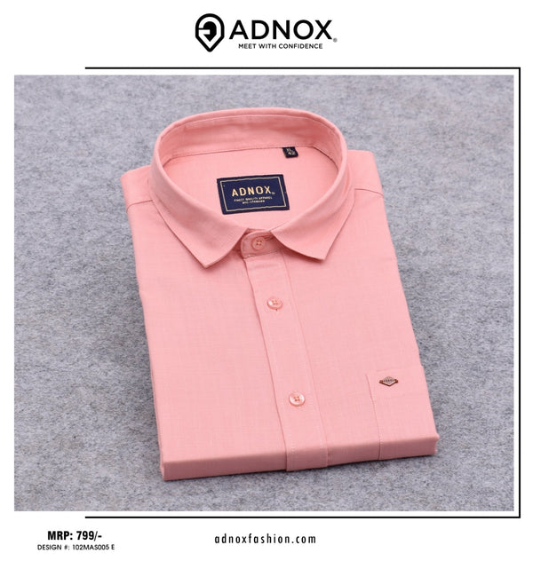 Peach Solid Shirt for Men