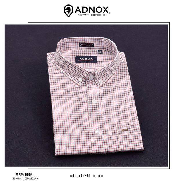Maroon Checkered Shirt For Men