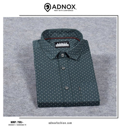 Dark Green Printed Shirt for Men