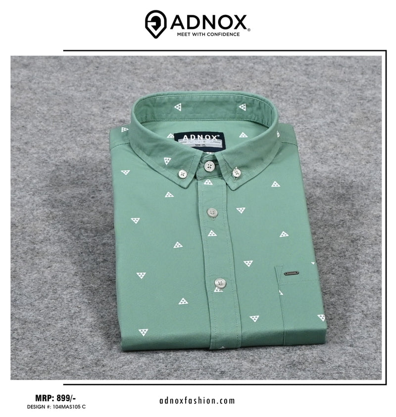 Pastel Green Printed Shirt for Men