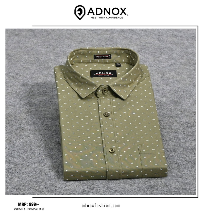 Olive Green Printed Shirt for Men