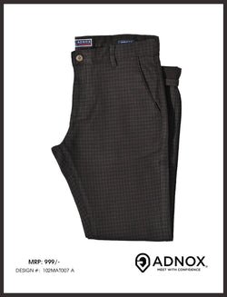 Coffee Brown Checked Cotton Trouser