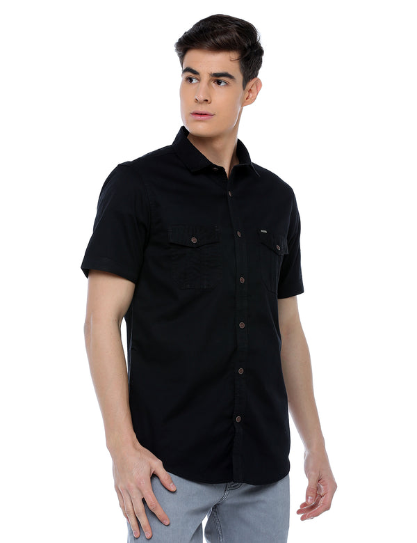 ADNOX Men's Twill Plain Cargo Design Half Sleeve Cotton Shirt (Black)