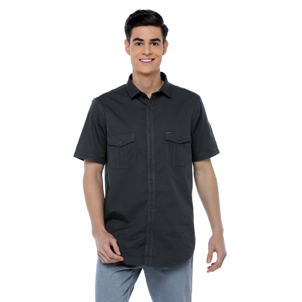 ADNOX Men's Twill Plain Cargo Design Half Sleeve Cotton Shirt (Dark Grey)