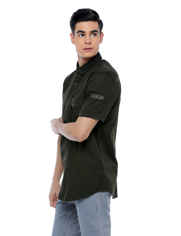 ADNOX Men's Twill Plain Cargo Design Half Sleeve Cotton Shirt (Army Green)