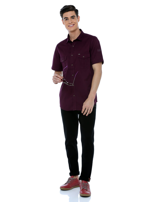 ADNOX Men's Twill Plain Cargo Design Half Sleeve Cotton Shirt (Maroon)