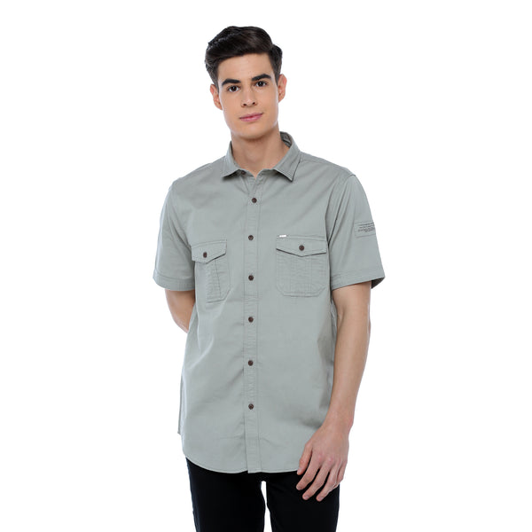 ADNOX Men's Twill Plain Cargo Design Half Sleeve Cotton Shirt (Light Khaki)