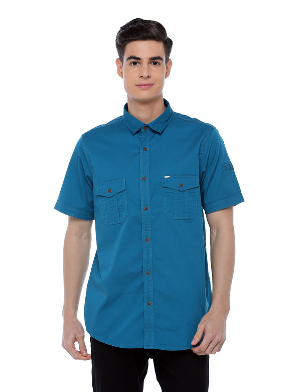 ADNOX Men's Twill Plain Cargo Design Half Sleeve Cotton Shirt (Petrol Blue)