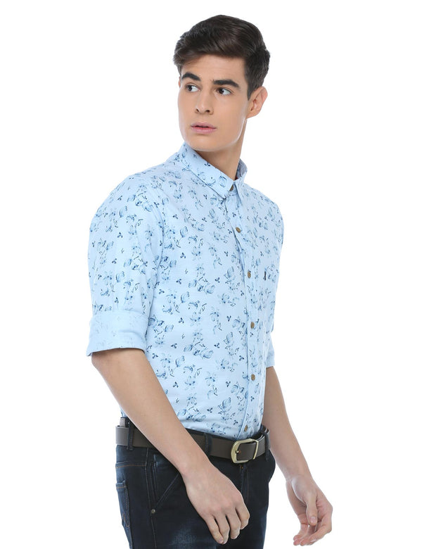 ADNOX Cotton Linen Casual Printed Full Sleeve Cotton Slim Fit Shirt (Sky Blue)