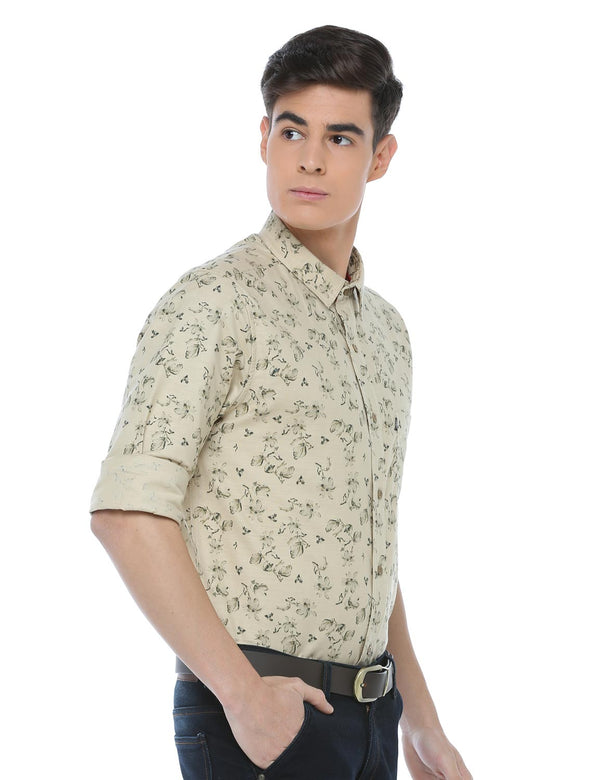 ADNOX Cotton Linen Casual Printed Full Sleeve Cotton Slim Fit Shirt (Beige)