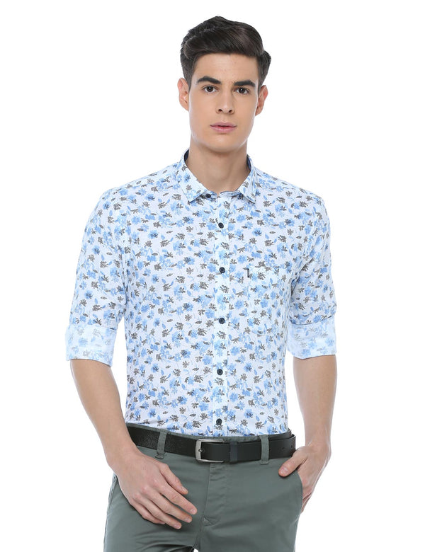 ADNOX Cotton Linen Casual Printed Full Sleeve Slim Fit Cotton Shirt (Sky Blue)