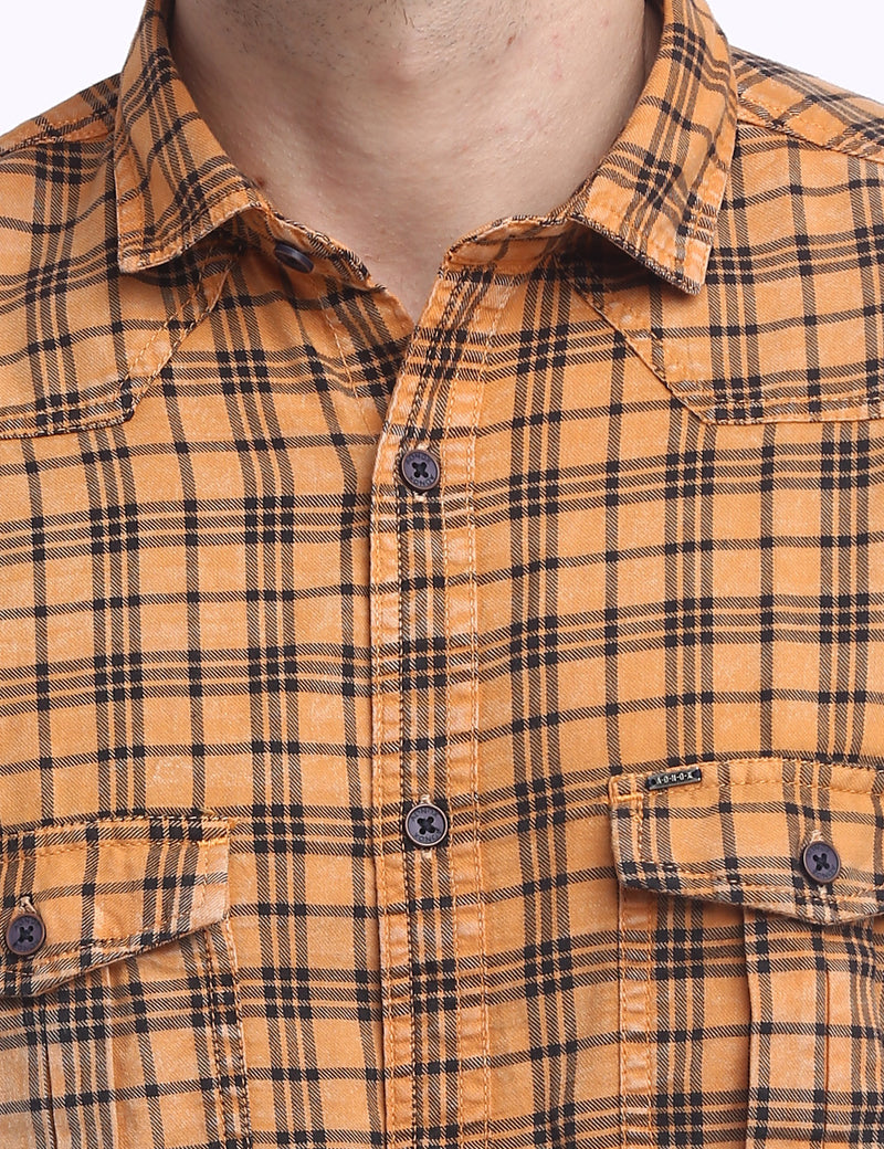 ADNOX Men's Checkered RFD Indigo Cotton Full Sleeve Casual Shirt (Orange)