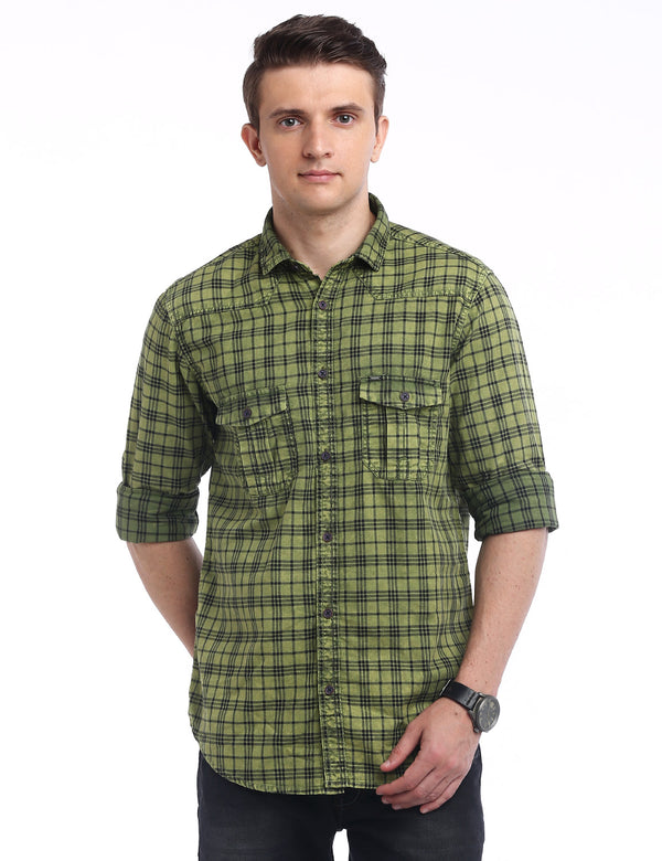 ADNOX Men's Checkered RFD Indigo Cotton Full Sleeve Casual Shirt (Green)