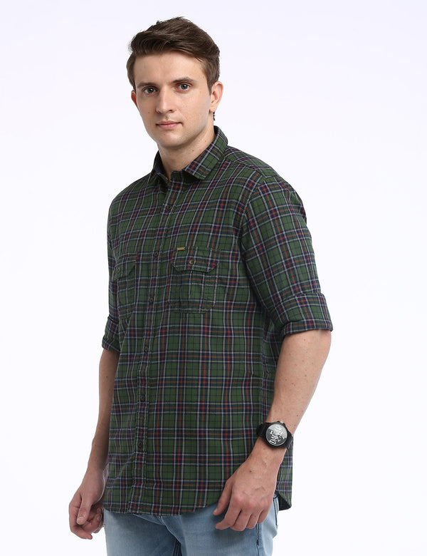 ADNOX Checkered Twill Cotton Full Sleeve Casual Shirt for Men (Green)