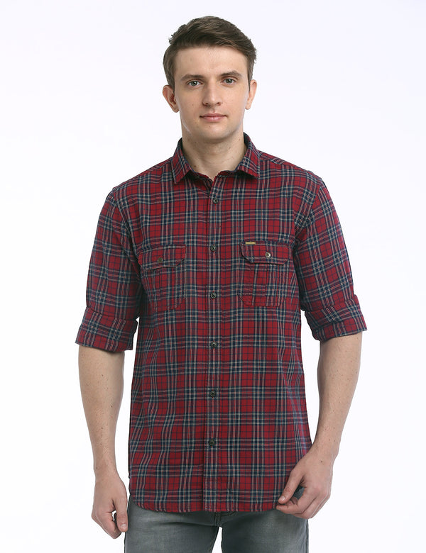 ADNOX Checkered Twill Cotton Full Sleeve Casual Shirt for Men (Red)