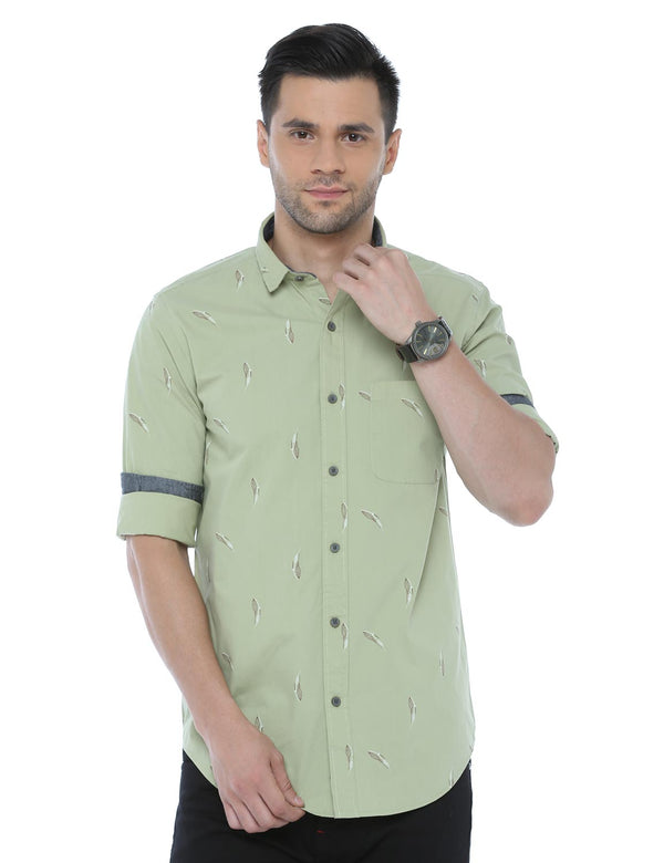 ADNOX Printed Casual Full Sleeve Cotton Slim Fit Shirt for Men