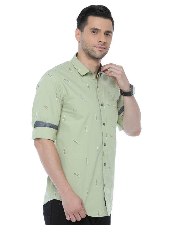 ADNOX Printed Casual Full Sleeve Cotton Slim Fit Shirt for Men (Pastel Green)