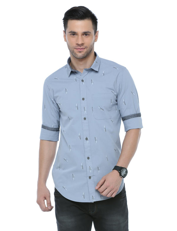 ADNOX Printed Casual Full Sleeve Cotton Slim Fit Shirt for Men (Greyish Blue)