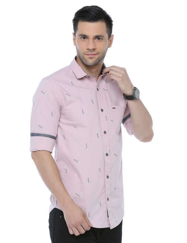ADNOX Printed Casual Full Sleeve Cotton Slim Fit Shirt for Men (Pastel Pink)