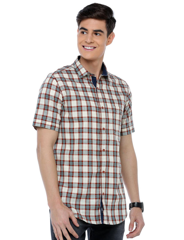 ADNOX Cotton Linen Checkered Half Sleeve Slim Fit Shirt for Men