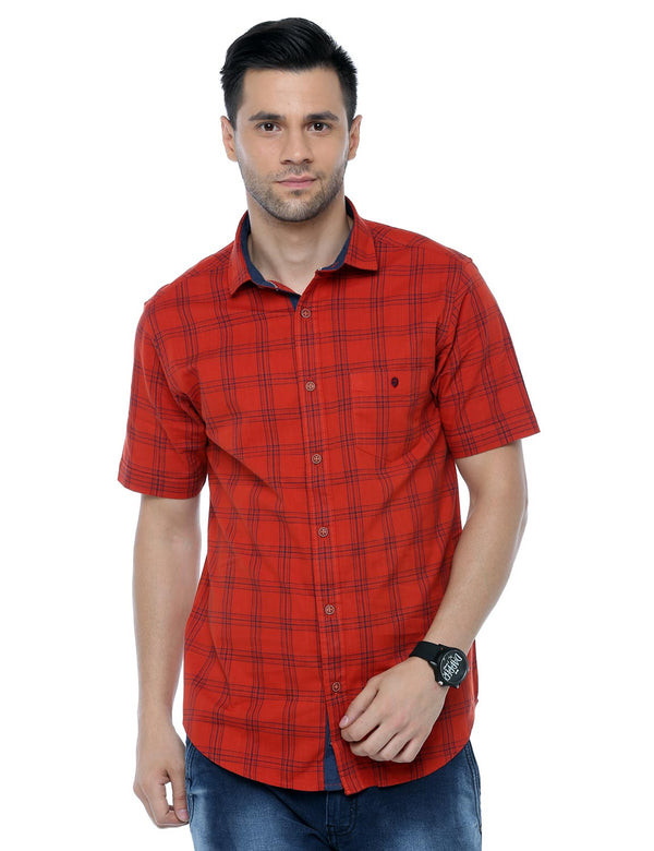 ADNOX Cotton Linen Checkered Half Sleeve Cotton Slim Fit Shirt for Men