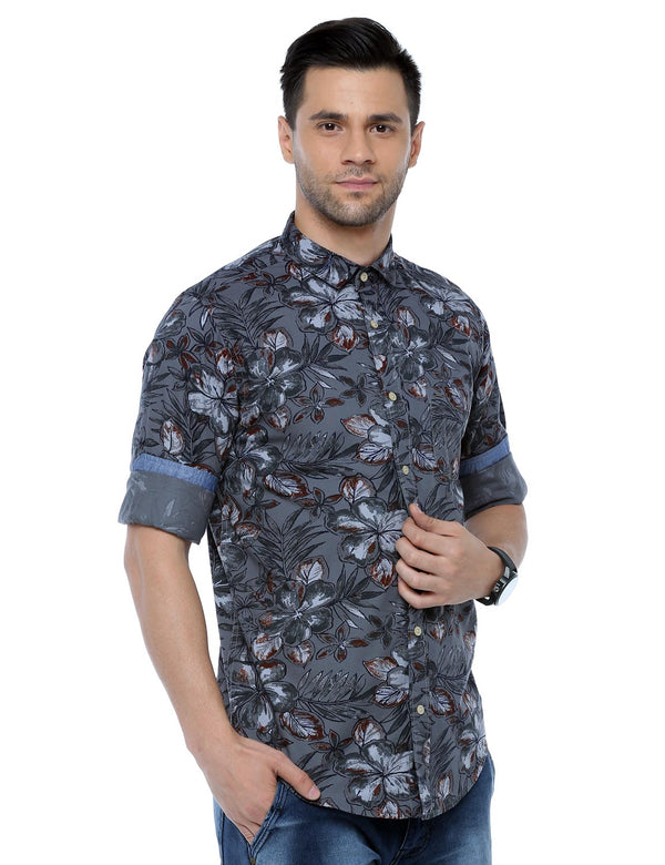 ADNOX Men's Floral Printed Casual Full Sleeve Slim Fit Shirt (Slate Grey)