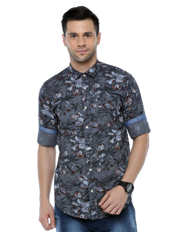 ADNOX Floral Printed Casual Full Sleeve Cotton Slim Fit Shirt for Men