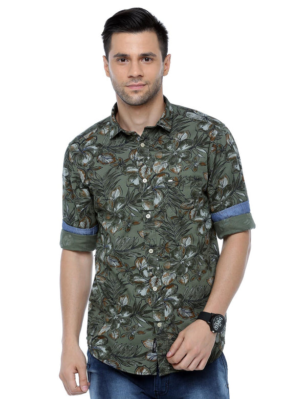 ADNOX Men's Floral Printed Casual Full Sleeve Slim Fit Shirt (Army Green)