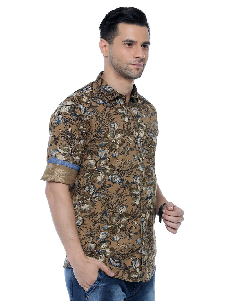 ADNOX Men's Floral Printed Casual Full Sleeve Slim Fit Shirt (Brown)