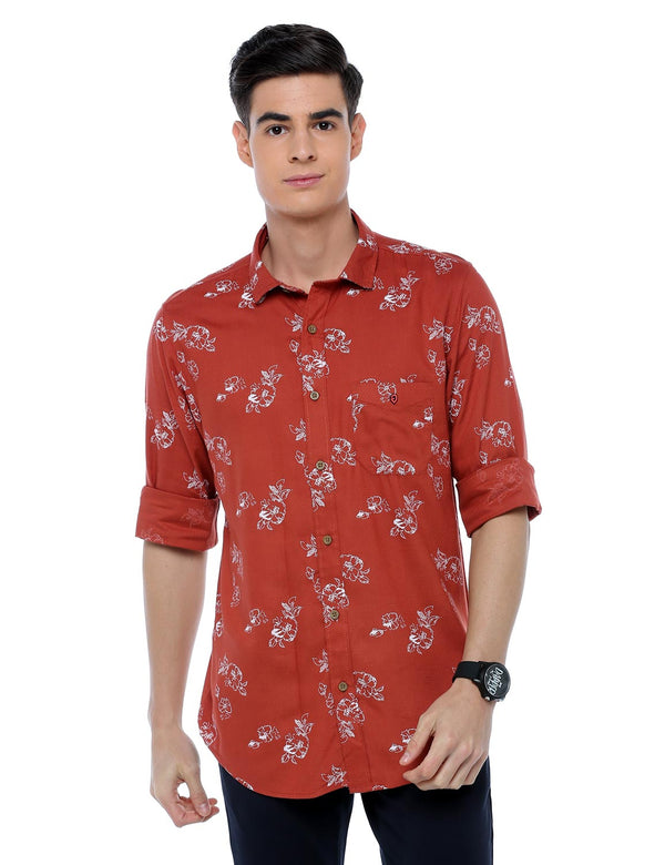 ADNOX Floral Printed Casual Full Sleeve Cotton Slim Fit Shirt for Men (Brick Red)