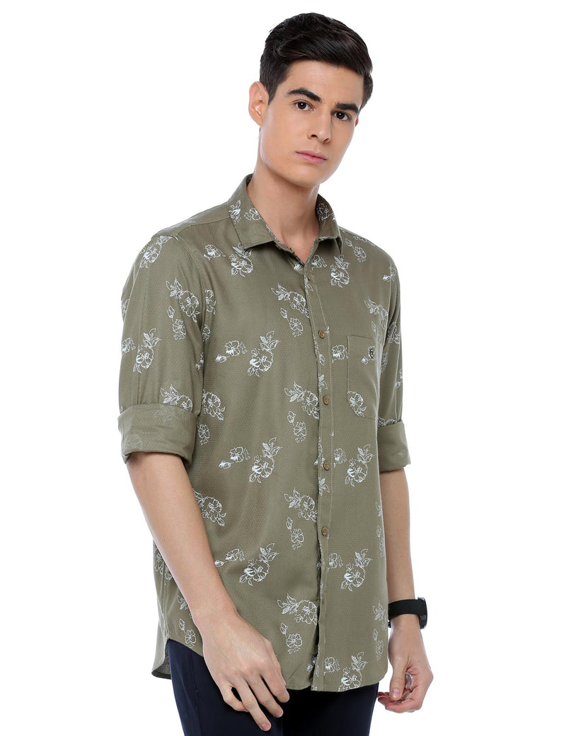 ADNOX Floral Printed Casual Full Sleeve Cotton Slim Fit Shirt for Men (Olive Green)