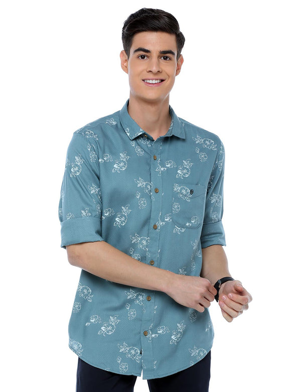 ADNOX Floral Printed Casual Full Sleeve Cotton Slim Fit Shirt for Men (Air Force Blue)