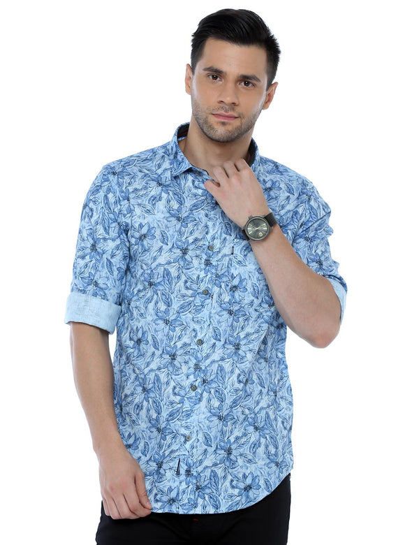ADNOX Floral Printed Casual Full Sleeve Blue Cotton Shirt for Men