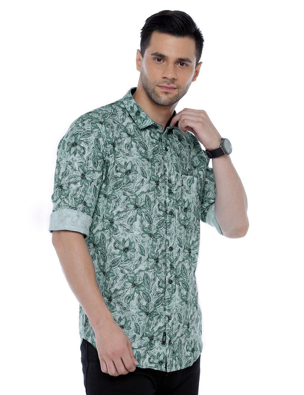 ADNOX Floral Printed Casual Full Sleeve Blue Cotton Shirt for Men (Army Green)