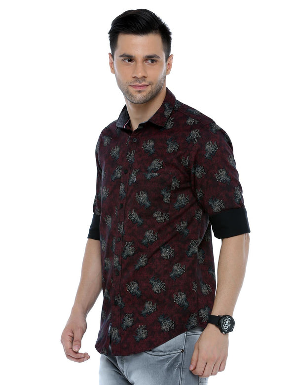 ADNOX Men's Floral Printed Casual Full Sleeve Satin Cotton Shirt (Maroon)