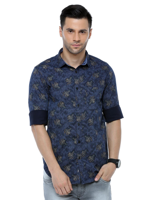 ADNOX Men's Floral Printed Casual Full Sleeve Satin Cotton Shirt (Blue)