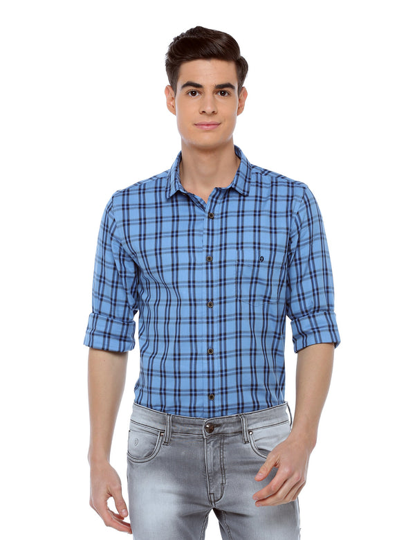 ADNOX Checkered Full Sleeve Slim Fit Casual Cotton Shirt for Men