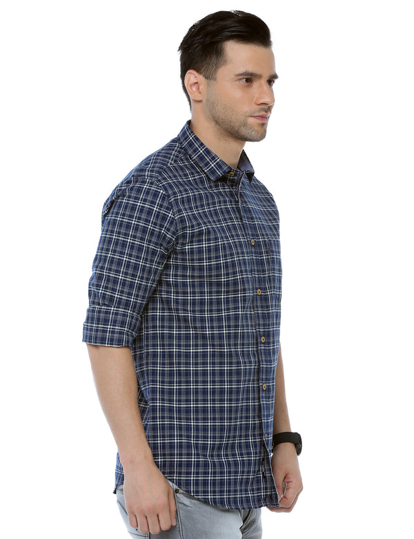 ADNOX Checkered Full Sleeve Slim Fit Cotton Casual Shirt for Men (Navy Blue)