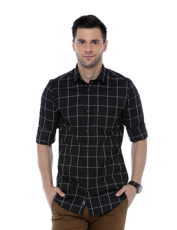 ADNOX Checkered Full Sleeve Cotton Slim Fit Casual Shirt for Men