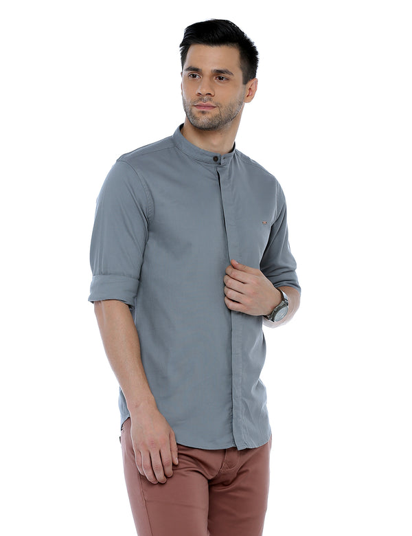 ADNOX Dobby Plain Full Sleeve Cotton Casual Slim Fit Shirt for Men (Grey)