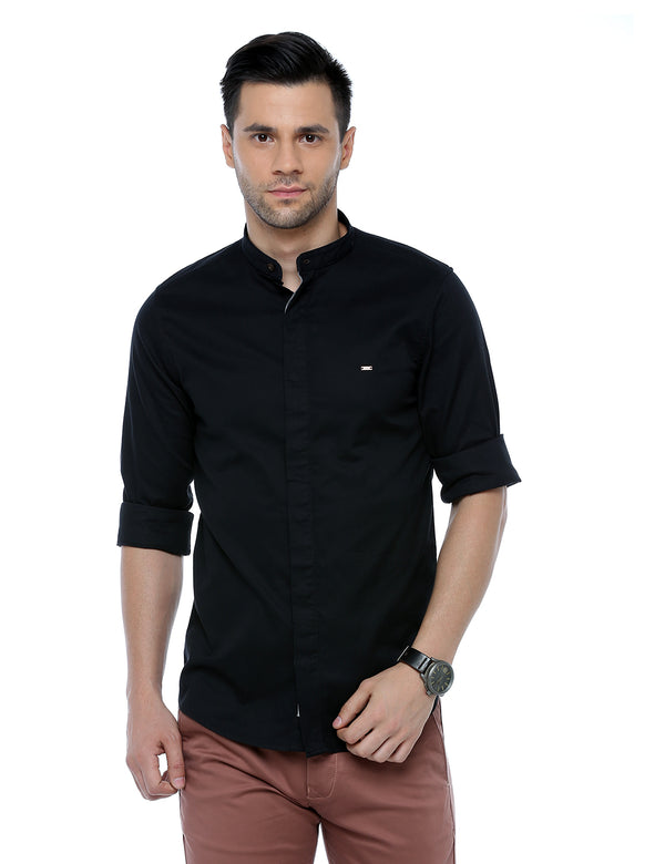 ADNOX Dobby Plain Full Sleeve Cotton Casual Slim Fit Shirt for Men (Black)