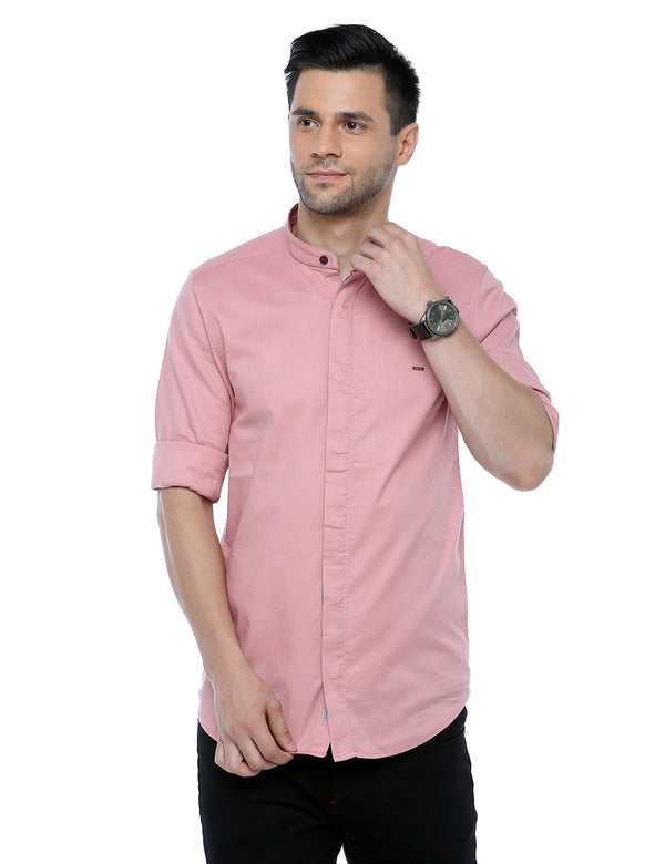 ADNOX Dobby Plain Full Sleeve Cotton Casual Slim Fit Shirt for Men (Peach)