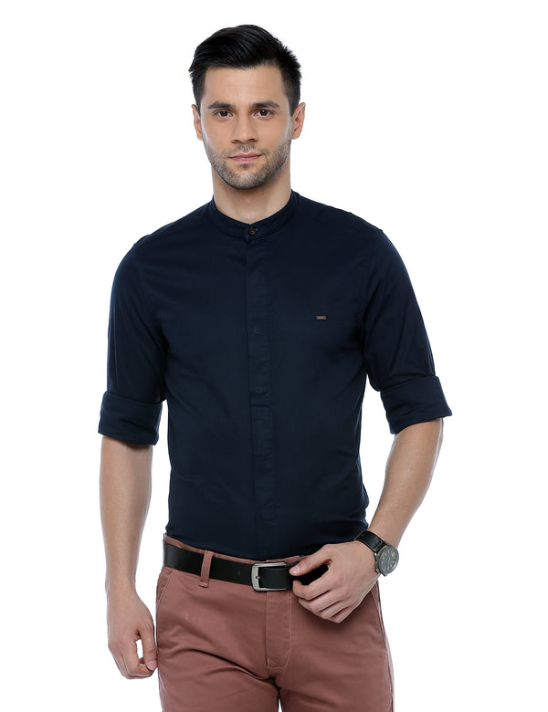 ADNOX Dobby Plain Full Sleeve Cotton Casual Slim Fit Shirt for Men (Navy Blue)
