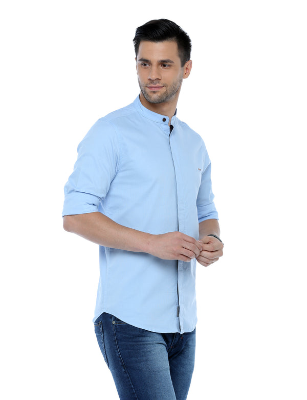 ADNOX Dobby Plain Full Sleeve Cotton Casual Slim Fit Shirt for Men (Sky Blue)