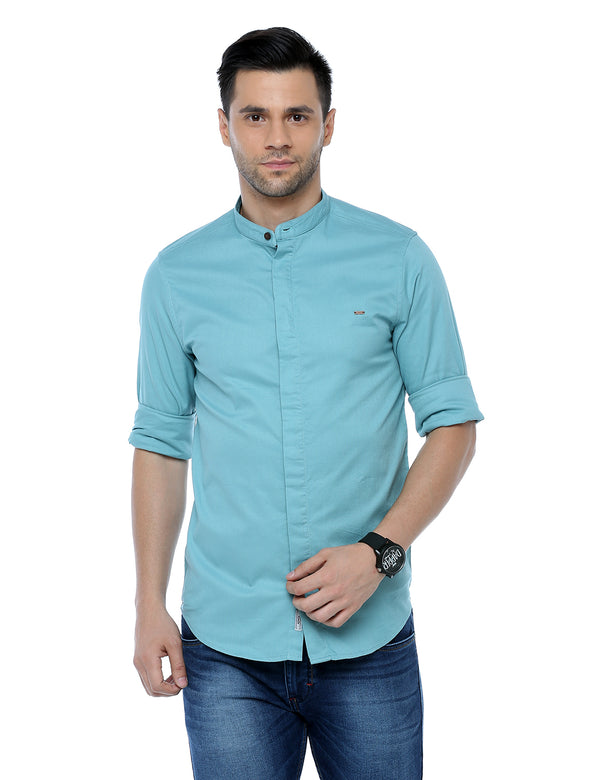 ADNOX Dobby Plain Full Sleeve Cotton Casual Slim Fit Shirt for Men (Air Force Blue)