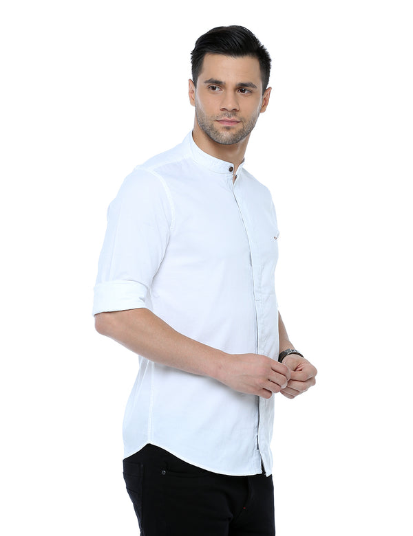 ADNOX Dobby Plain Full Sleeve Cotton Casual Slim Fit Shirt for Men (White)