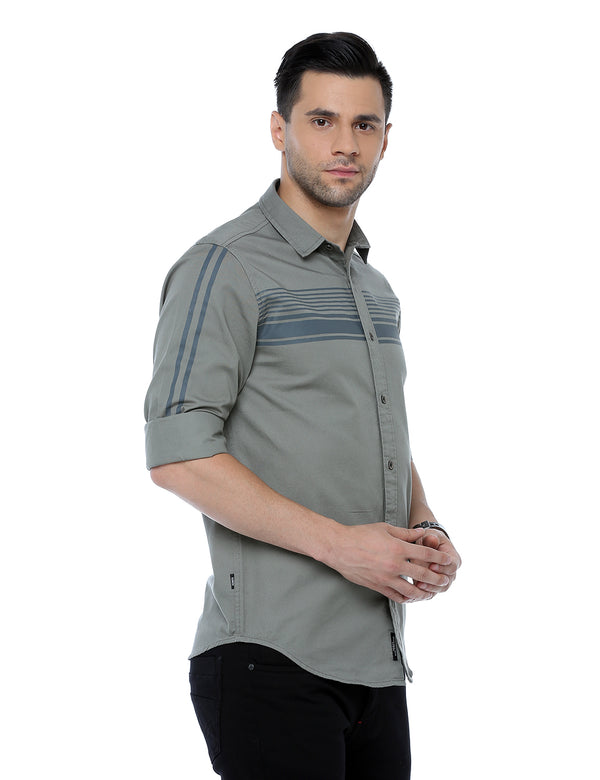 ADNOX Men's Designer Plain Full Sleeve Cotton Slim Fit Shirt (Olive Green)