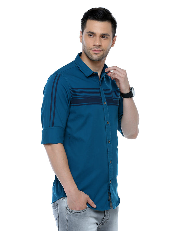 ADNOX Men's Designer Plain Full Sleeve Cotton Slim Fit Shirt (Petrol Blue)