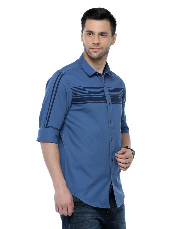 ADNOX Men's Designer Plain Full Sleeve Cotton Slim Fit Shirt (Carolina Blue)